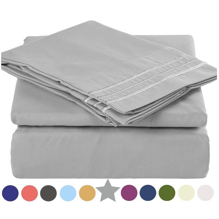 Grey Color Brushed Microfiber Embroidery Bedsheets Sets