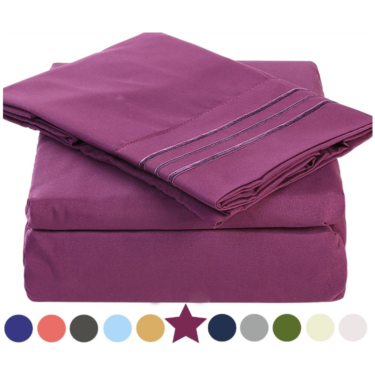 Buy Bedroom Bed Sheet Sets on Sale , with Pillow Case and 3 Lines Embroidery