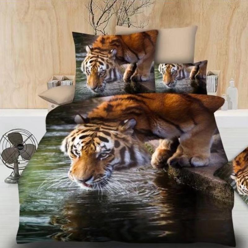 3D Tiger Printed Home Bedding Duvet Cover Set