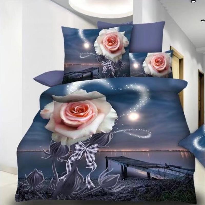 3D Rose Printed Microfiber Cheap Duvet Covers Bedsheets