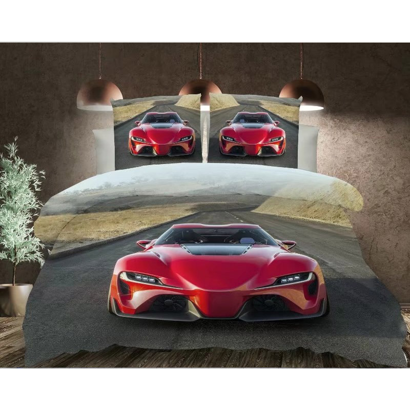 3d Effect Duvet Cover in Red Car Design Polyester Fabric