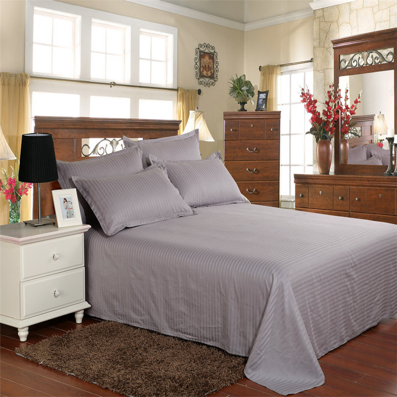 Grey Color Jacquard Stripes Cotton Bedsheets and Pillow case