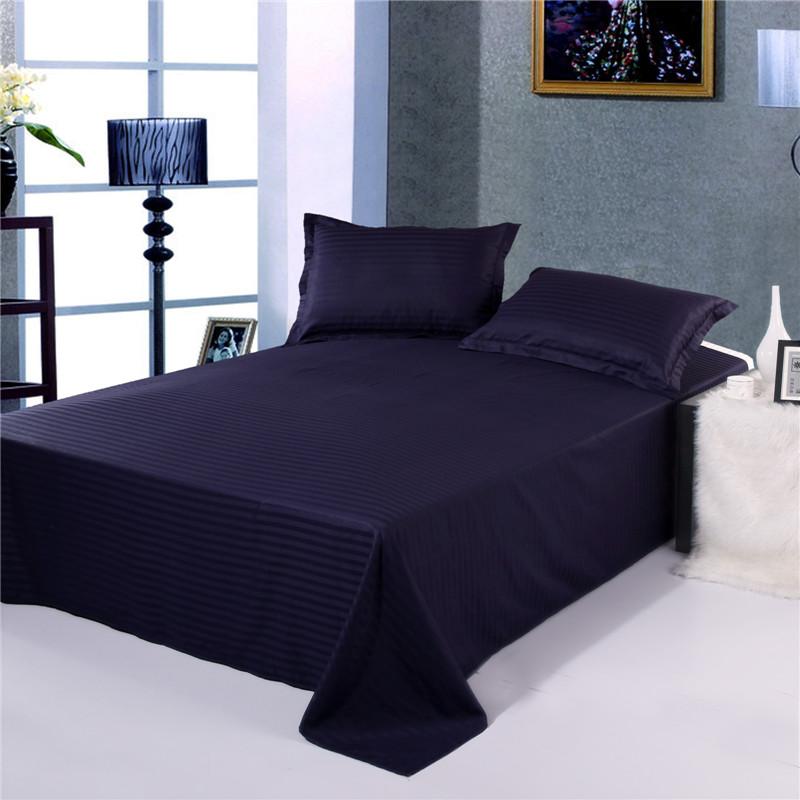 Navy Blue Color Cotton Stripe Bedsheet Set