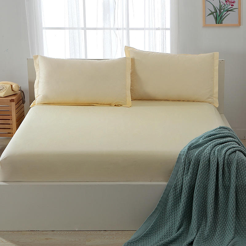 Queen and King Bed Sheets Sets Sale , Beige Color Cotton Fabric ,Home Textile Factory