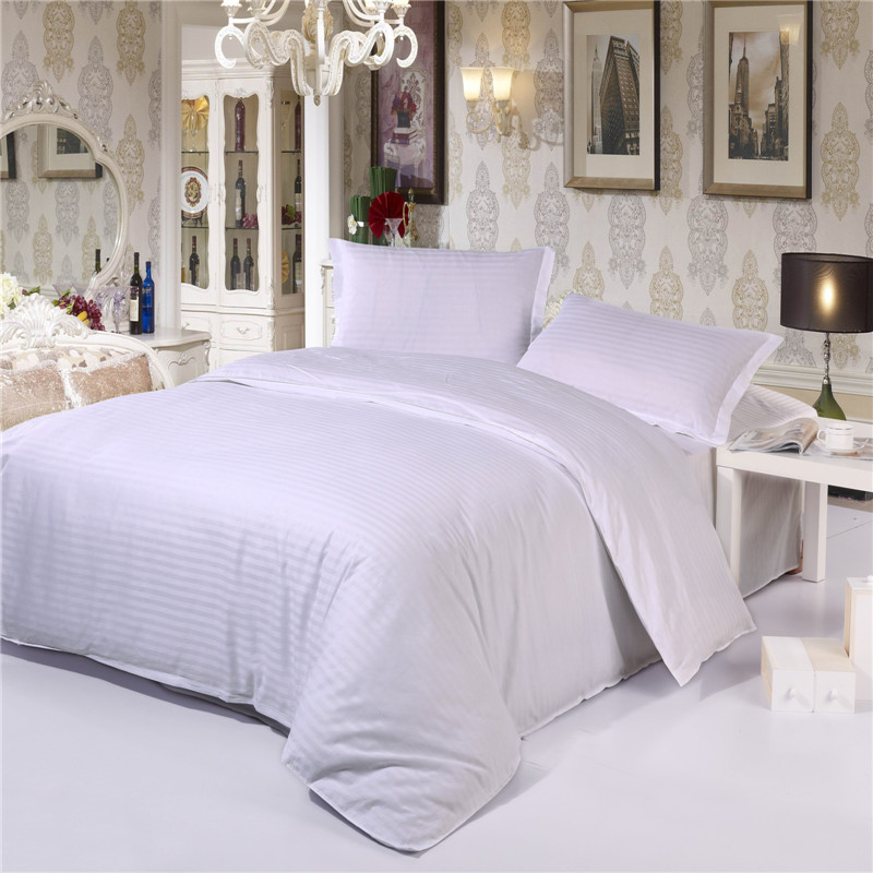 Solid White Color Stripe Cotton Hotel Collection Home Bedding Set