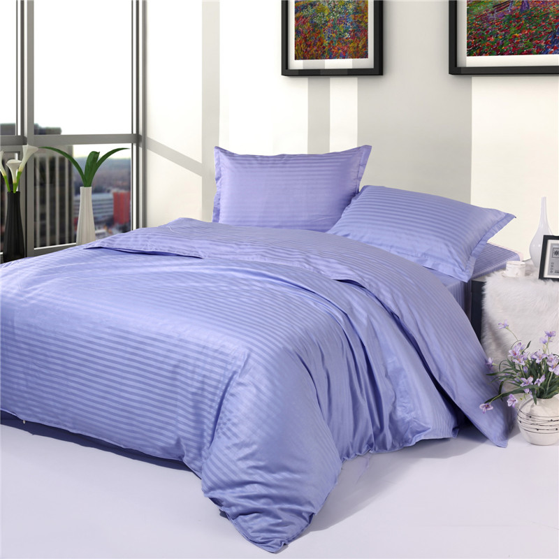 Light Blue Color Hotel Quality Stripe Cotton Bed Linen