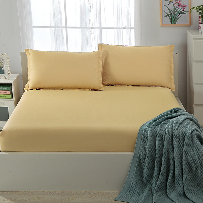 Solid Color Cotton Fitted Sheet and Pillow Cases