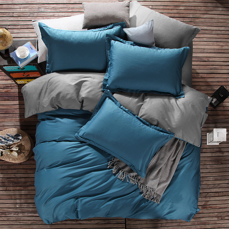 Cotton Duvet CoversTeal and Grey Color by Bedding Set Manufacture