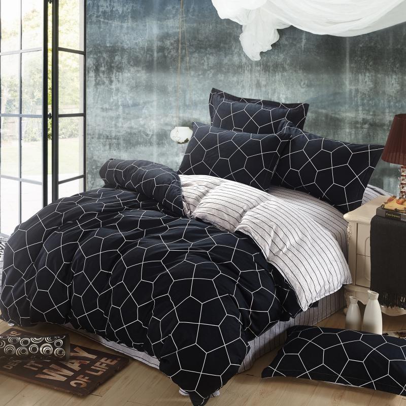 Cotton Bedding SetUK ,Black Duvet Cover in Geometric Print