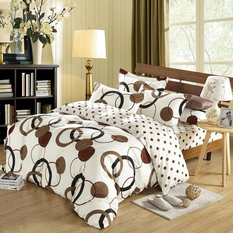 Cotton Duvet Cover Sets Double ,Brown Round Circle Printed Pattern in White Background Color