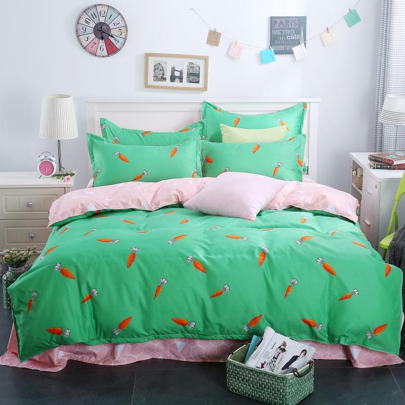 Quilt Cover China Green Color Carrot Print Polyester Bedding