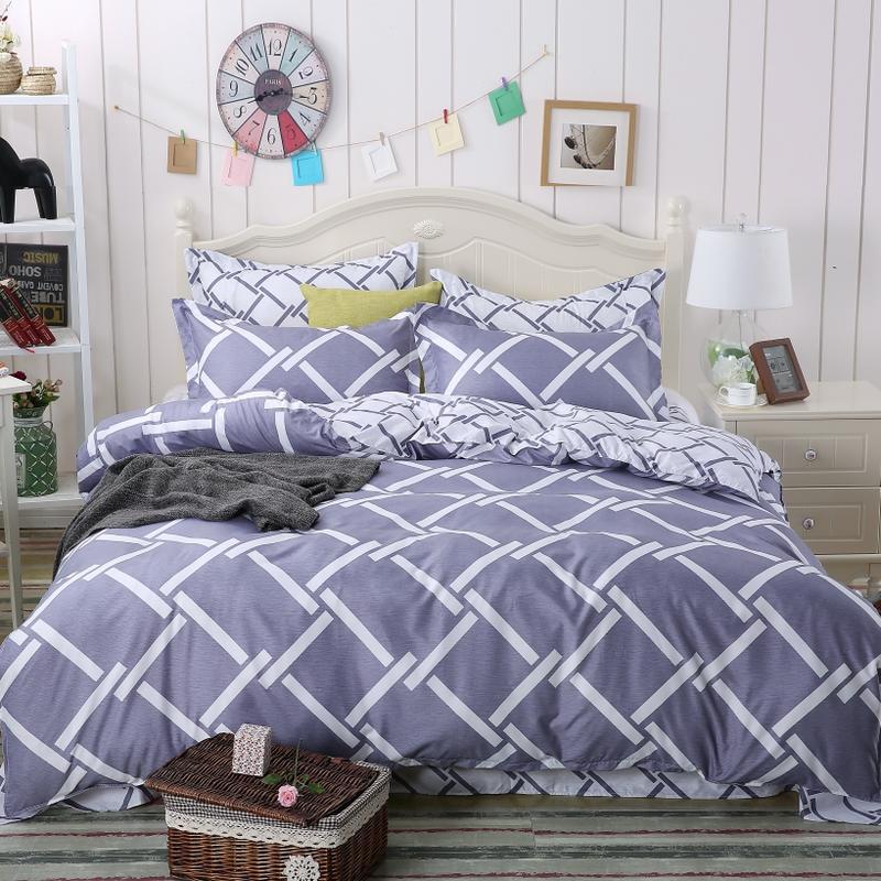 Simple Style Printed Microfiber Duvet Cover Bedding set
