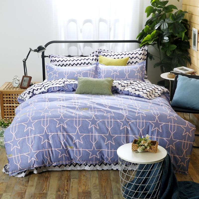 Queen Duvet Covers Blue Color Star and Gemetric Line Print