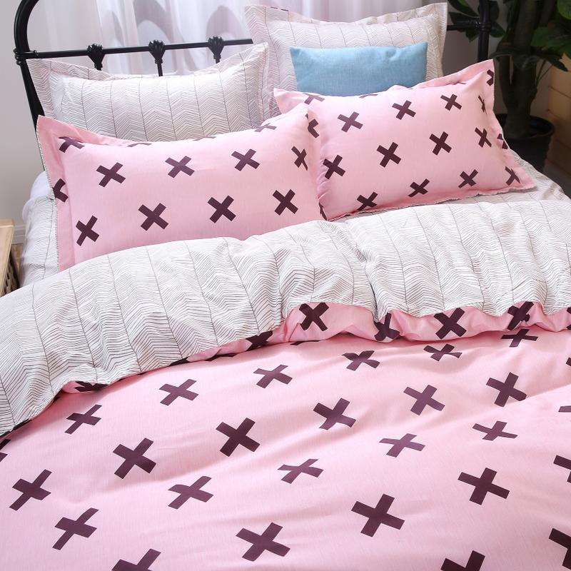 Twin XL Duvet Covers in Pink Color and Crosses Print