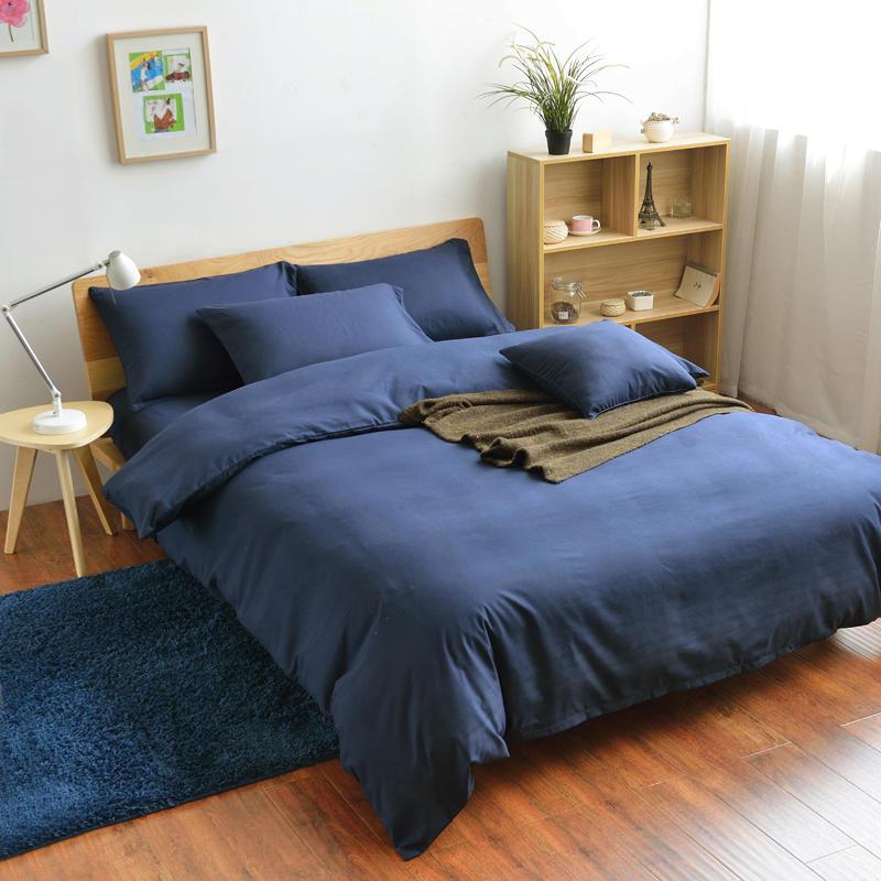 Solid Blue Duvet Cover Queen ,Polyester Bedroom Set