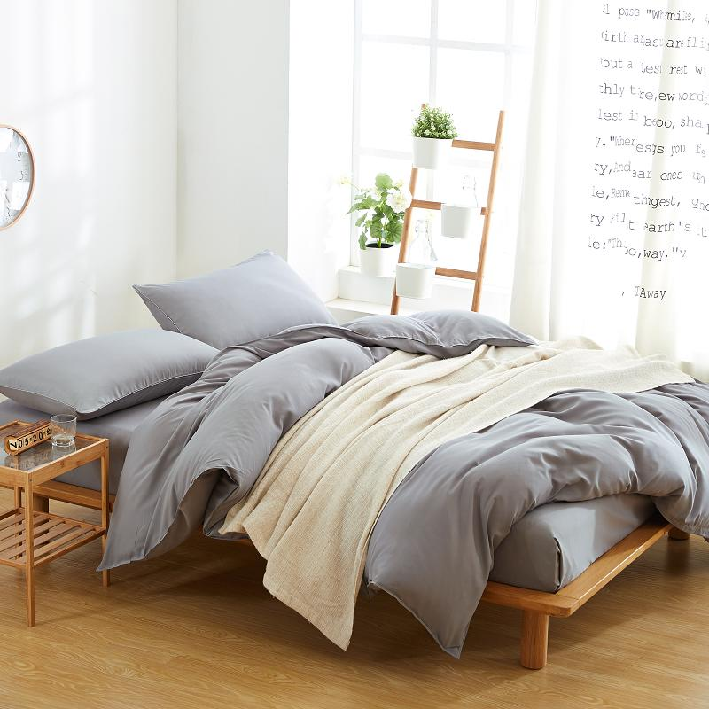 Solid Grey Color Cheap Micro Polyester Duvet Cover Bedding Set