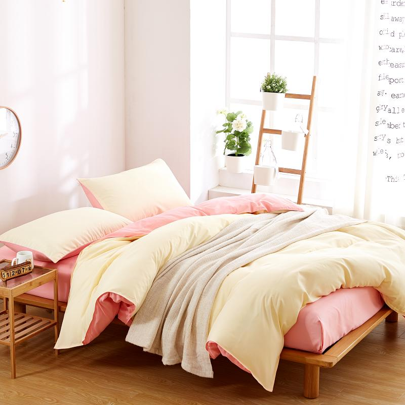 Solid White and Pink Duvet Cover , 3 Piece Set Reversible Design